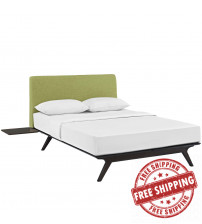 Modway MOD-5257-CAP-GRN-SET Tracy 3 Piece Queen Bedroom Set in Cappuccino Green