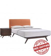 Modway MOD-5260-CAP-ORA-SET Tracy 2 Piece Queen Bedroom Set in Cappuccino Orange