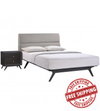 Modway MOD-5262-BLK-GRY-SET Addison 2 Piece Queen Bedroom Set in Black Gray