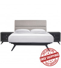Modway MOD-5263-BLK-GRY-SET Addison 3 Piece Queen Bedroom Set in Black Gray