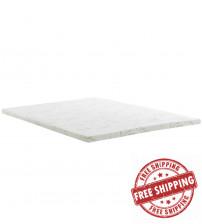 "Modway MOD-5572-WHI Relax Full 2"" Gel Memory Foam Mattress Topper in White"