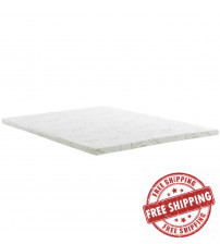 "Modway MOD-5573-WHI Relax Queen 2"" Gel Memory Foam Mattress Topper in White"