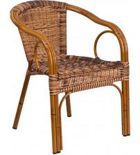 Flash Furniture SDA-AD632009D-1-GG Cadiz Series Burning Brown Rattan Restaurant Patio Chair with Dark Red Bamboo-Aluminum Frame