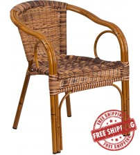 Flash Furniture SDA-AD632009D-1-GG Cadiz Series Burning Brown Rattan Restaurant Patio Chair with Dark Red Bamboo-Aluminum Frame