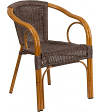 Flash Furniture SDA-AD632009D-2-GG Cadiz Series Dark Brown Rattan Restaurant Patio Chair with Red Bamboo-Aluminum Frame