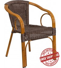 Flash Furniture SDA-AD632009D-2-GG Cadiz Series Dark Brown Rattan Restaurant Patio Chair with Red Bamboo-Aluminum Frame