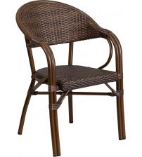 Flash Furniture SDA-AD642003R-1-GG Milano Series Cocoa Rattan Restaurant Patio Chair with Bamboo-Aluminum Frame