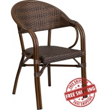Flash Furniture SDA-AD642003R-1-GG Milano Series Cocoa Rattan Restaurant Patio Chair with Bamboo-Aluminum Frame