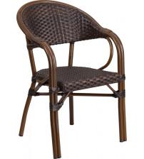 Flash Furniture SDA-AD642003R-2-GG Milano Series Dark Brown Rattan Restaurant Patio Chair with Red Bamboo-Aluminum Frame