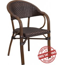 Flash Furniture SDA-AD642003R-2-GG Milano Series Dark Brown Rattan Restaurant Patio Chair with Red Bamboo-Aluminum Frame