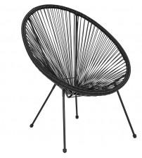 Flash Furniture TLH-094-BLACK-GG Valencia Oval Comfort Series Take Ten Black Rattan Lounge Chair
