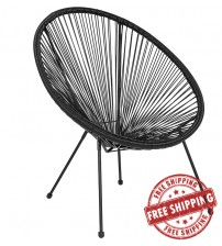 Flash Furniture TLH-094-BLACK-GG Valencia Oval Comfort Series Take Ten Black Rattan Lounge Chair