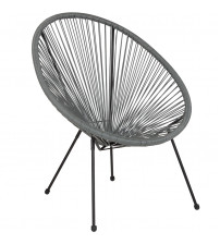 Flash Furniture TLH-094-GREY-GG Valencia Oval Comfort Series Take Ten Grey Rattan Lounge Chair