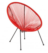 Flash Furniture TLH-094-RED-GG Valencia Oval Comfort Series Take Ten Red Rattan Lounge Chair