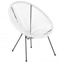 Flash Furniture TLH-094-WHITE-GG Valencia Oval Comfort Series Take Ten White Rattan Lounge Chair