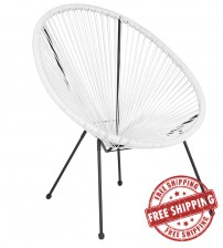 Flash Furniture TLH-094-WHITE-GG Valencia Oval Comfort Series Take Ten White Rattan Lounge Chair