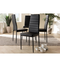 Baxton Studio 112157-1-Black Armand Modern and Contemporary Black Faux Leather Upholstered Dining Chair (Set of 4)