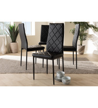 Baxton Studio 112157-4-Black Blaise Modern and Contemporary Black Faux Leather Upholstered Dining Chair (Set of 4)