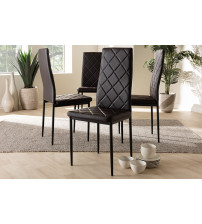 Baxton Studio 112157-4-Brown Blaise Modern and Contemporary Brown Faux Leather Upholstered Dining Chair (Set of 4)