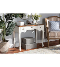 Baxton Studio 132050-White-Console Sophie Classic Traditional French Country White and Brown Finished Small 3-Drawer Wood Console Table