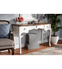 Baxton Studio 132051-White-Console Sophie Classic Traditional French Country White and Brown Finished Large 3-Drawer Wood Console Table
