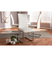 Baxton Studio 140919-White-4PC-Set Cyprien Modern and Contemporary White Faux Leather Upholstered Dining Chair (Set of 4)