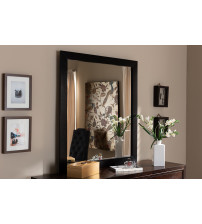 Baxton Studio 1477-Mirror Arly Modern and Contemporary Black Finished Wood Dresser Mirror