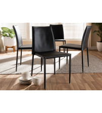 Baxton Studio 150543-Black Pascha Modern and Contemporary Black Faux Leather Upholstered Dining Chair (Set of 4)