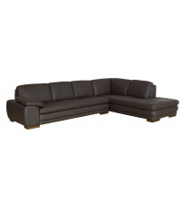 Baxton Studio 625-M9805-Sofa/lying-Leather/Match (M) Diana Dark Brown Sofa/Chaise Sectional
