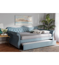 Baxton Studio Abbie-Light Blue Velvet-Daybed-Q/T Abbie Traditional and Transitional Light Blue Velvet Fabric Upholstered and Crystal Tufted Queen Size Daybed with Trundle