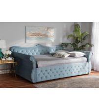 Baxton Studio Abbie-Light Blue Velvet-Daybed-Queen Abbie Traditional and Transitional Light Blue Velvet Fabric Upholstered and Crystal Tufted Queen Size Daybed
