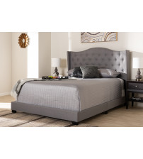 Baxton Studio Alesha-Grey-Queen Alesha Modern and Contemporary Grey Fabric Upholstered Queen Size Bed
