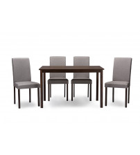 Baxton Studio Andrew 5 PC Dining Set-Grey Fabric Andrew Contemporary Espresso Wood Grey Fabric 5PC Dining Set