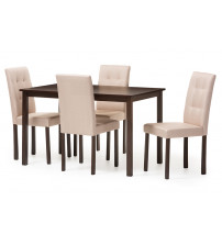 Baxton Studio Andrew 5PC Beige 9-Grids Dining Set Andrew Modern and Contemporary 5-Piece Beige Fabric Upholstered Grid-tufting Dining Set