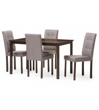 Baxton Studio Andrew 5PC Grey 9-Grids Dining Set Andrew Modern and Contemporary 5-Piece Grey Fabric Upholstered Grid-tufting Dining Set