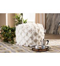 Baxton Studio Asuka-Ivory-Pouf Asuka Moroccan Inspired Ivory Handwoven Cotton Fringe Pouf Ottoman