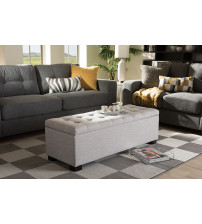 Baxton Studio BBT3101-OTTO-Greyish Beige-H1217-14 Roanoke Modern and Contemporary Grayish Beige Fabric Upholstered Grid-Tufting Storage Ottoman Bench