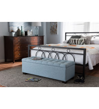 Baxton Studio BBT3101-OTTO-Light Blue-H1217-21 Roanoke Modern and Contemporary Light Blue Fabric Upholstered Grid-Tufting Storage Ottoman Bench