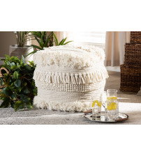 Baxton Studio Bartow-Ivory-Pouf Bartow Moroccan Inspired Beige Handwoven Cotton Pouf Ottoman