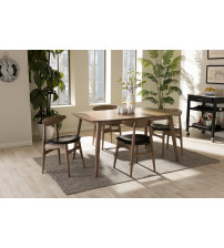 Baxton Studio Flora-French Oak 5PC Dining Set Edna Mid-Century Modern French Black Faux Leather and