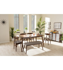 Baxton Studio Flora-Medium Oak 6PC Dining Set Flora Mid-Century Modern Light Grey Fabric and