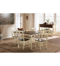 Baxton Studio Napoleon-Cherry/Buttermilk 5PC Dining Set Napoleon French Country Cottage Buttermilk and
