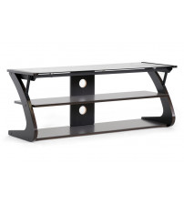 Baxton Studio AA-TV-10(wenge)-TVS Sculpten Dark Brown And Black Modern Tv Stand With Glass Shelves