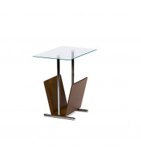 Baxton Studio Aking-24097 Sabata Glass Top Bentwood Magazine Holder Accent Table