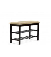 Baxton Studio Aking-57614 Langella Dark Brown Finish Bench with 2-tier Shoe Rack
