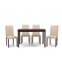 Baxton Studio Andrew 5 PC Dining Set-Beige Contemporary Espresso Wood 5 PC Dining Set