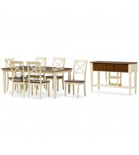 Baxton Studio Ashton-Buttermilk/Walnut 8PC Dining Set Ashton 8-Piece Dining Set with 18-Inch Butterfly Extension Leaf