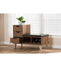 Baxton Studio B-001-Walnut Arielle Walnut Brown Wood 3-Drawer Shoe Storage Padded Leatherette Seating Bench with Two Open Shelves