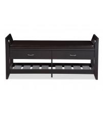 Baxton Studio B-002-Espresso Maurine 2-drawer and 2-shelf Shoe Storage Padded Leatherette Seating Bench