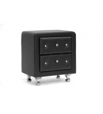 Baxton Studio BBT3084-Black-NS Stella Crystal Tufted Black Upholstered Modern Nightstand